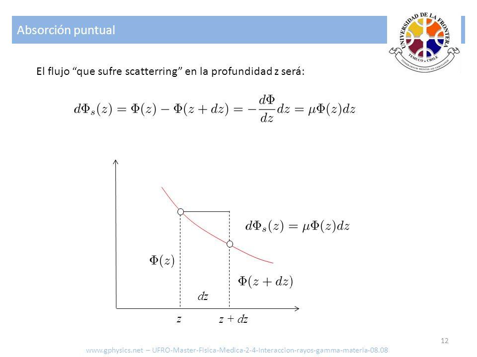 Absorción puntual 12 El flujo que sufre scatterring en la profundidad z será: dz z + dz z www.gphysics.net – UFRO-Master-Fisica-Medica-2-4-Interaccion