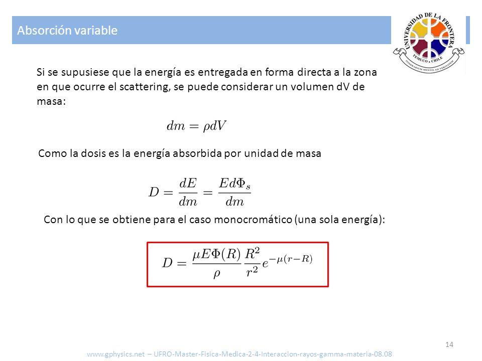 Absorción variable 14 Si se supusiese que la energía es entregada en forma directa a la zona en que ocurre el scattering, se puede considerar un volum