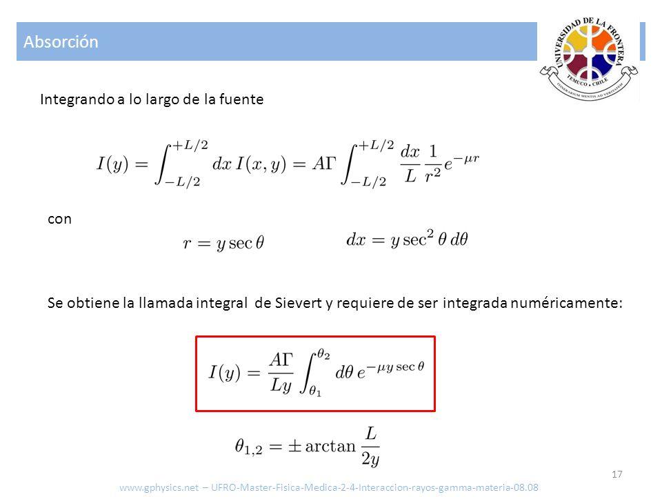 Absorción 17 www.gphysics.net – UFRO-Master-Fisica-Medica-2-4-Interaccion-rayos-gamma-materia-08.08 Integrando a lo largo de la fuente con Se obtiene