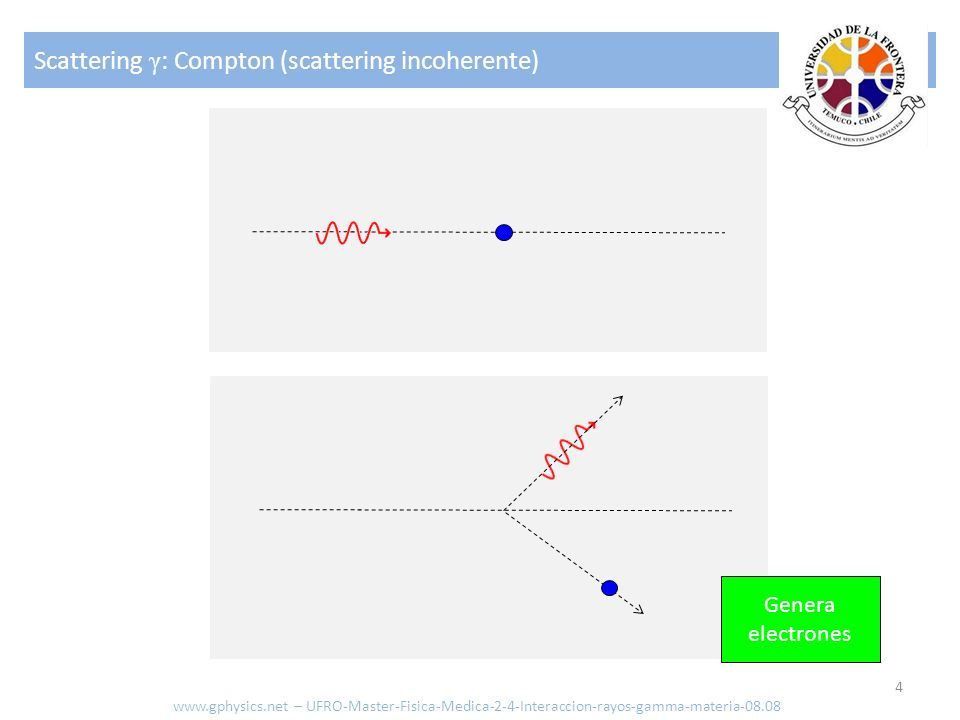 Scattering γ : Compton (scattering incoherente) 4 Genera electrones www.gphysics.net – UFRO-Master-Fisica-Medica-2-4-Interaccion-rayos-gamma-materia-0