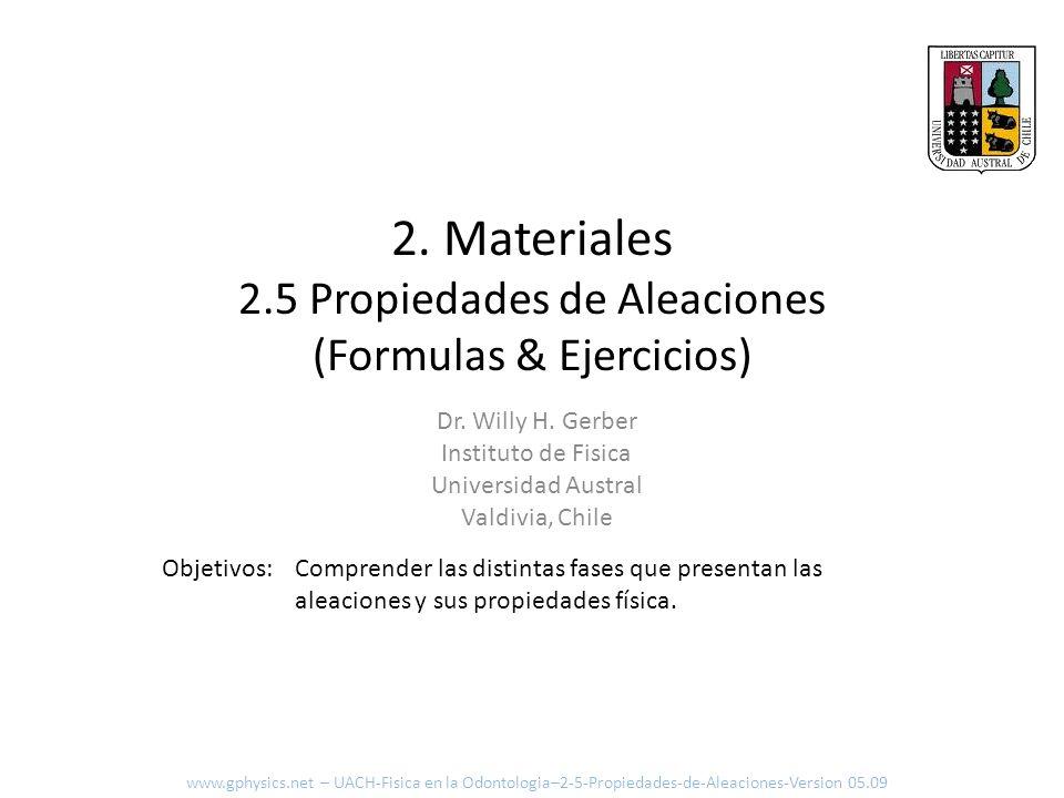 2. Materiales 2.5 Propiedades de Aleaciones (Formulas & Ejercicios) Comprender las distintas fases que presentan las aleaciones y sus propiedades físi