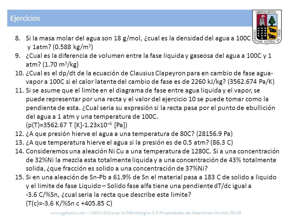 Ejercicios www.gphysics.net – UACH-Fisica en la Odontologia–2-5-Propiedades-de-Aleaciones-Version 05.09 8.Si la masa molar del agua son 18 g/mol, ¿cua