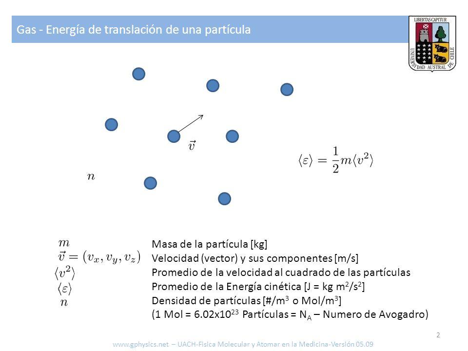 Gas - Energía de translación de una partícula 2 www.gphysics.net – UACH-Fisica Molecular y Atomar en la Medicina-Versión 05.09 Masa de la partícula [k