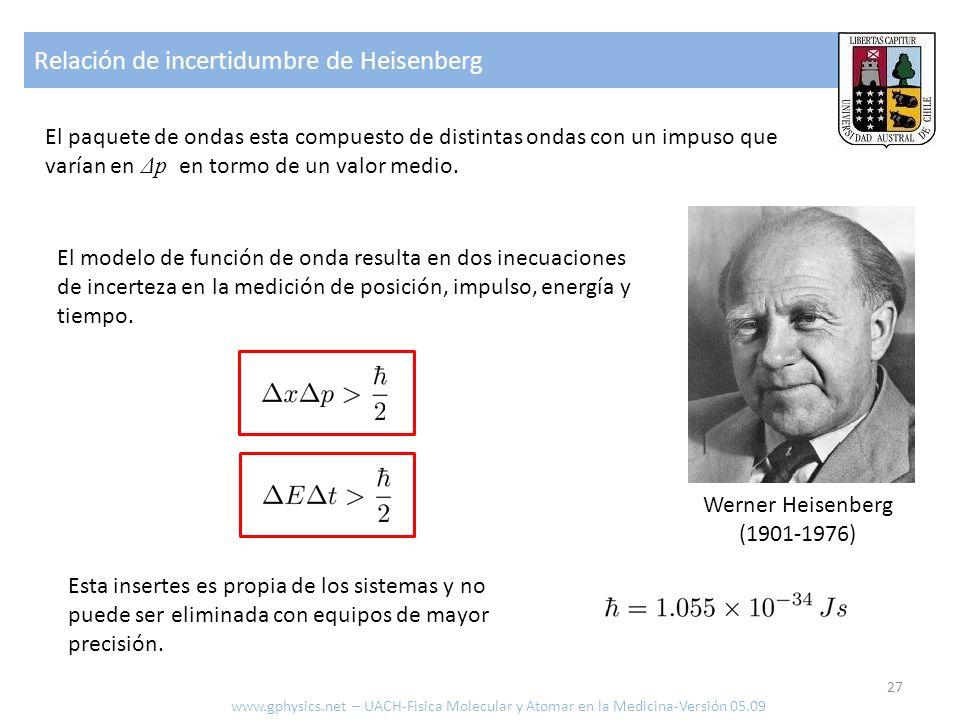 Relación de incertidumbre de Heisenberg 27 www.gphysics.net – UACH-Fisica Molecular y Atomar en la Medicina-Versión 05.09 El paquete de ondas esta com