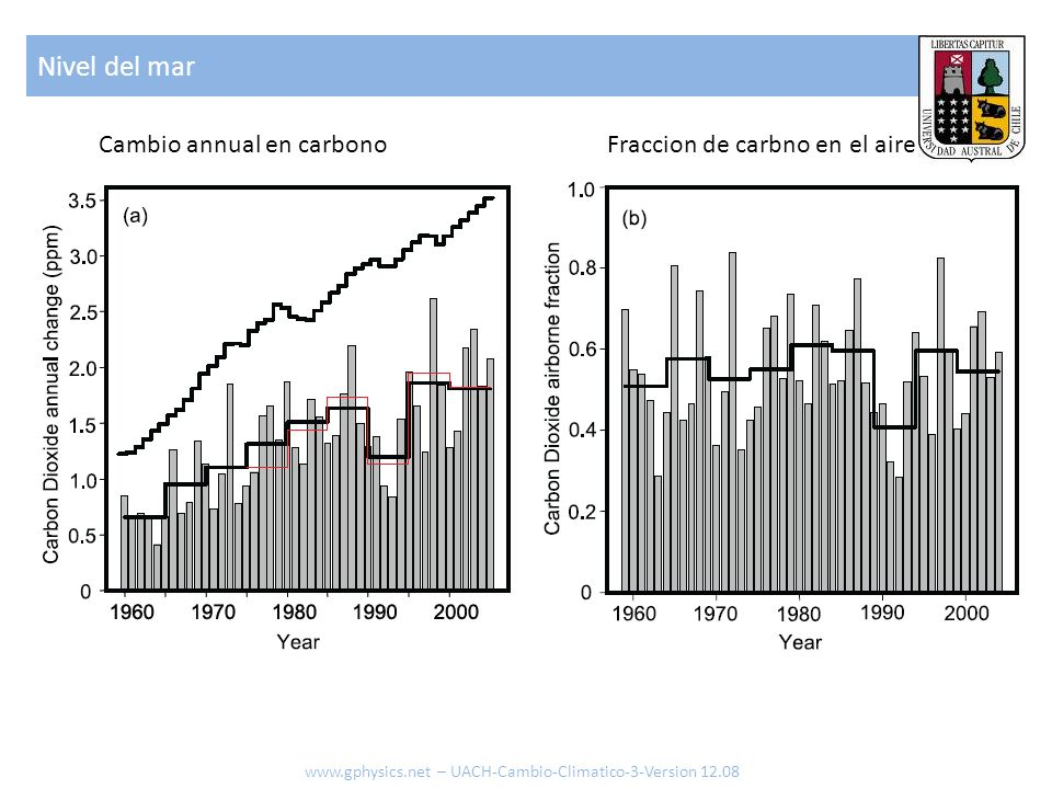 Nivel del mar www.gphysics.net – UACH-Cambio-Climatico-3-Version 12.08 Cambio annual en carbonoFraccion de carbno en el aire