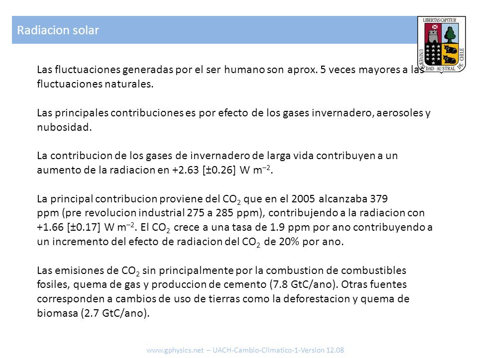 Variacion Temperatura www.gphysics.net – UACH-Cambio-Climatico-1-Version 12.08 Temperatura terrestre
