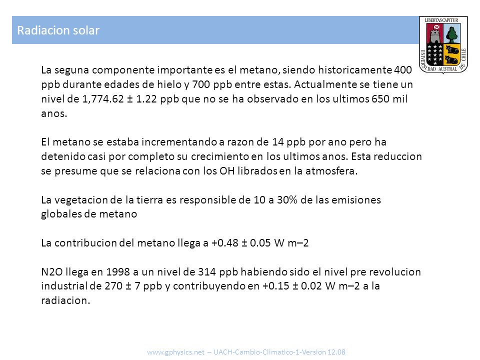 La seguna componente importante es el metano, siendo historicamente 400 ppb durante edades de hielo y 700 ppb entre estas. Actualmente se tiene un niv