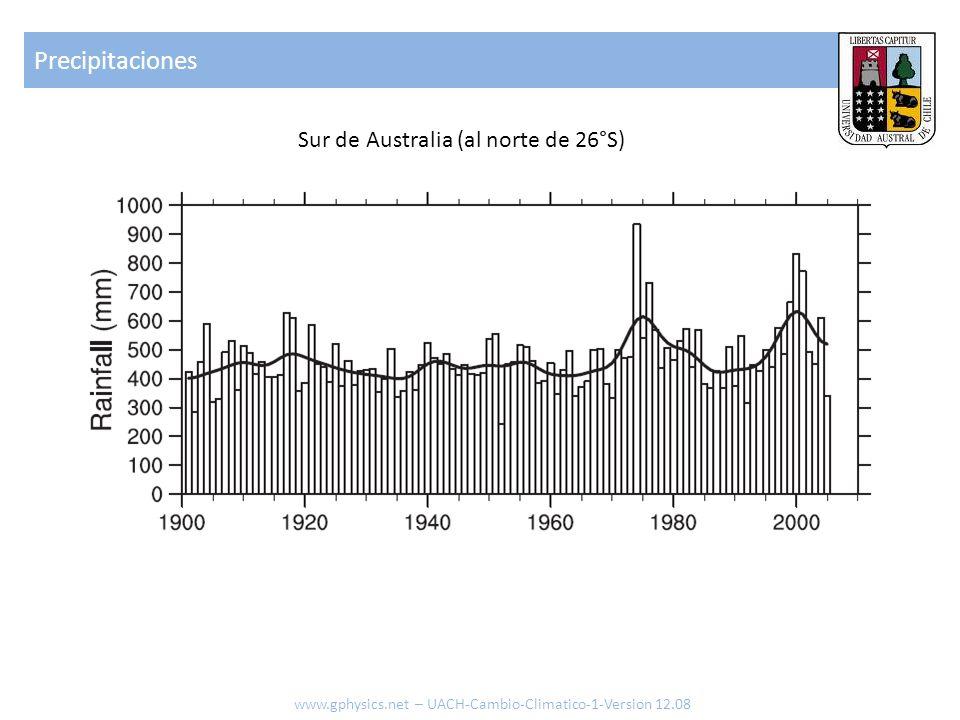 Precipitaciones www.gphysics.net – UACH-Cambio-Climatico-1-Version 12.08 Sur de Australia (al norte de 26°S)