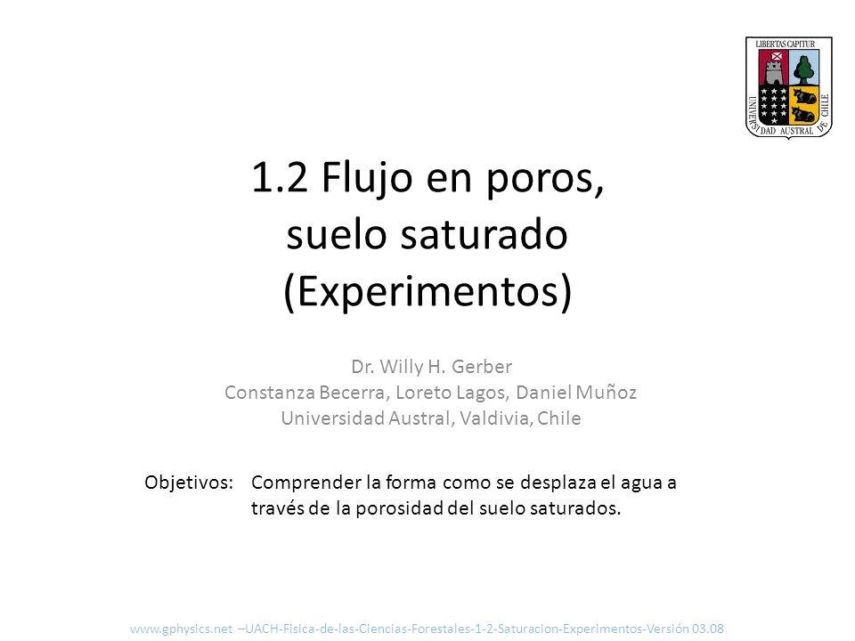 1.2 Flujo en poros, suelo saturado (Experimentos) Comprender la forma como se desplaza el agua a través de la porosidad del suelo saturados. Objetivos