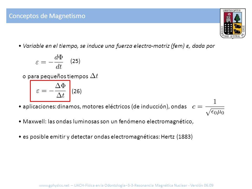 Variable en el tiempo, se induce una fuerza electro-motriz (fem) ε, dada por (25) o para pequeños tiempos (26) aplicaciones: dinamos, motores eléctric