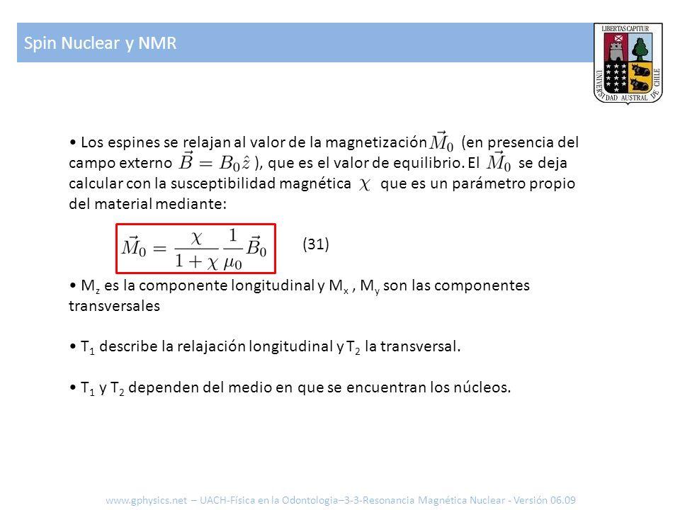 Spin Nuclear y NMR www.gphysics.net – UACH-Física en la Odontologia–3-3-Resonancia Magnética Nuclear - Versión 06.09 Los espines se relajan al valor d