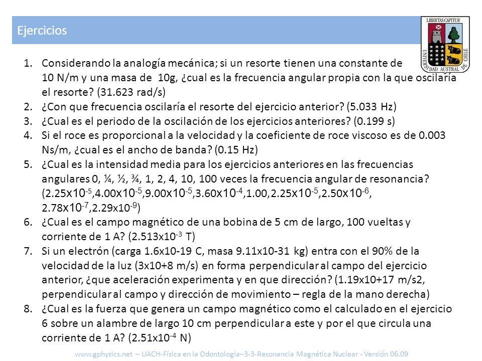 Ejercicios www.gphysics.net – UACH-Física en la Odontologia–3-3-Resonancia Magnética Nuclear - Versión 06.09 1.Considerando la analogía mecánica; si u