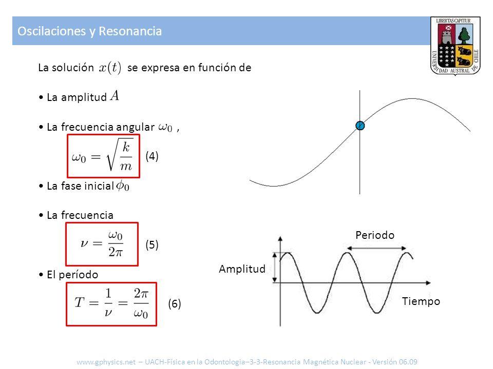 La solución se expresa en función de La amplitud La frecuencia angular, (4) La fase inicial La frecuencia (5) El período (6) Oscilaciones y Resonancia
