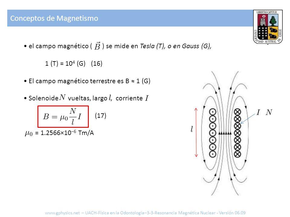 Conceptos de Magnetismo www.gphysics.net – UACH-Física en la Odontologia–3-3-Resonancia Magnética Nuclear - Versión 06.09 el campo magnético ( ) se mi