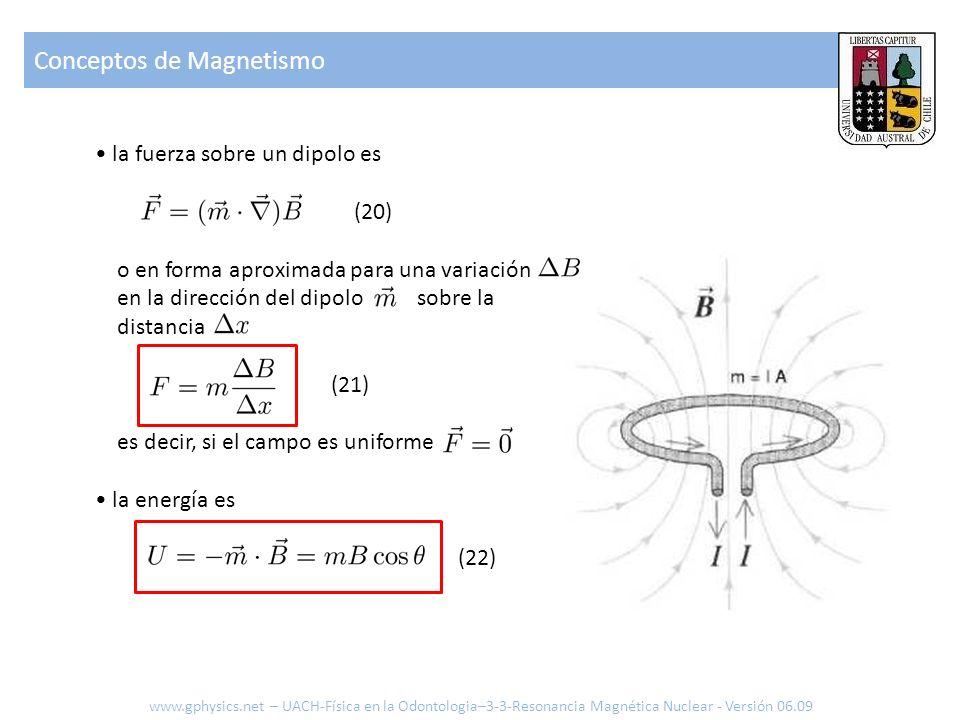 Conceptos de Magnetismo www.gphysics.net – UACH-Física en la Odontologia–3-3-Resonancia Magnética Nuclear - Versión 06.09 la fuerza sobre un dipolo es
