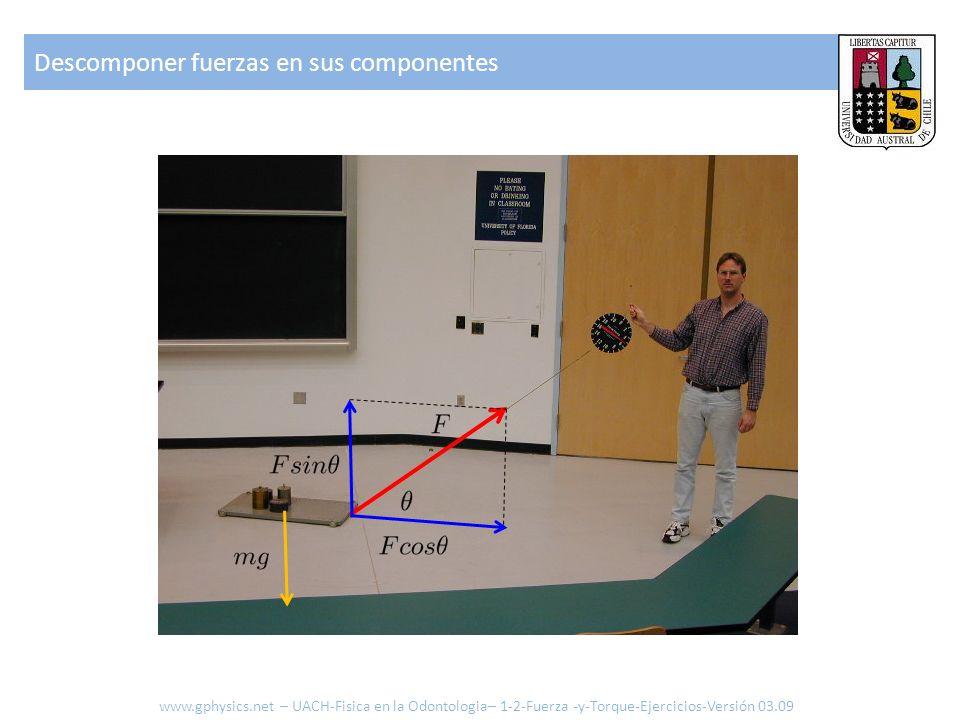 Descomponer fuerzas en sus componentes Para que no se levante: La aceleración se puede calcular de: Si hay roce existirá una fuerza adicional que será donde la fuerza normal es en este caso mg.