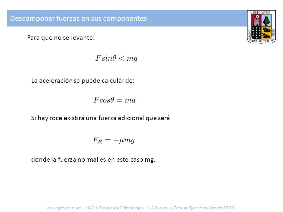 Descomponer fuerzas en sus componentes Si: El cuerpo acelerara con: Ejemplo: m = 20 kg μ = 0.2 F = 100N θ = 45° a= .