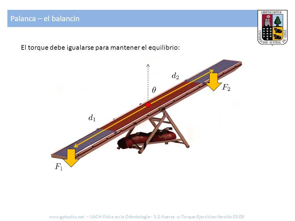 Palanca – el balancin El torque debe igualarse para mantener el equilibrio: www.gphysics.net – UACH-Fisica en la Odontologia– 1-2-Fuerza -y-Torque-Ejercicios-Versión 03.09