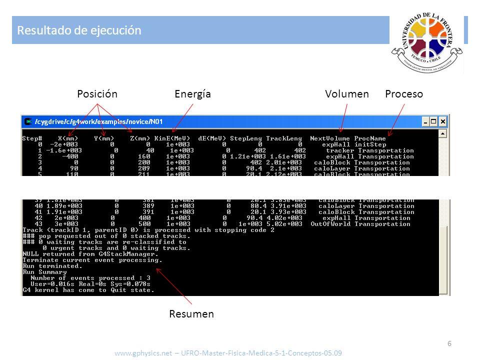 Resultado de ejecución 6 www.gphysics.net – UFRO-Master-Fisica-Medica-5-1-Conceptos-05.09 ProcesoVolumenPosiciónEnergía Resumen