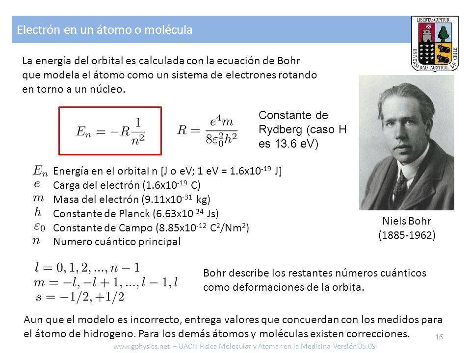 Electrón en un átomo o molécula 16 www.gphysics.net – UACH-Fisica Molecular y Atomar en la Medicina-Versión 05.09 La energía del orbital es calculada