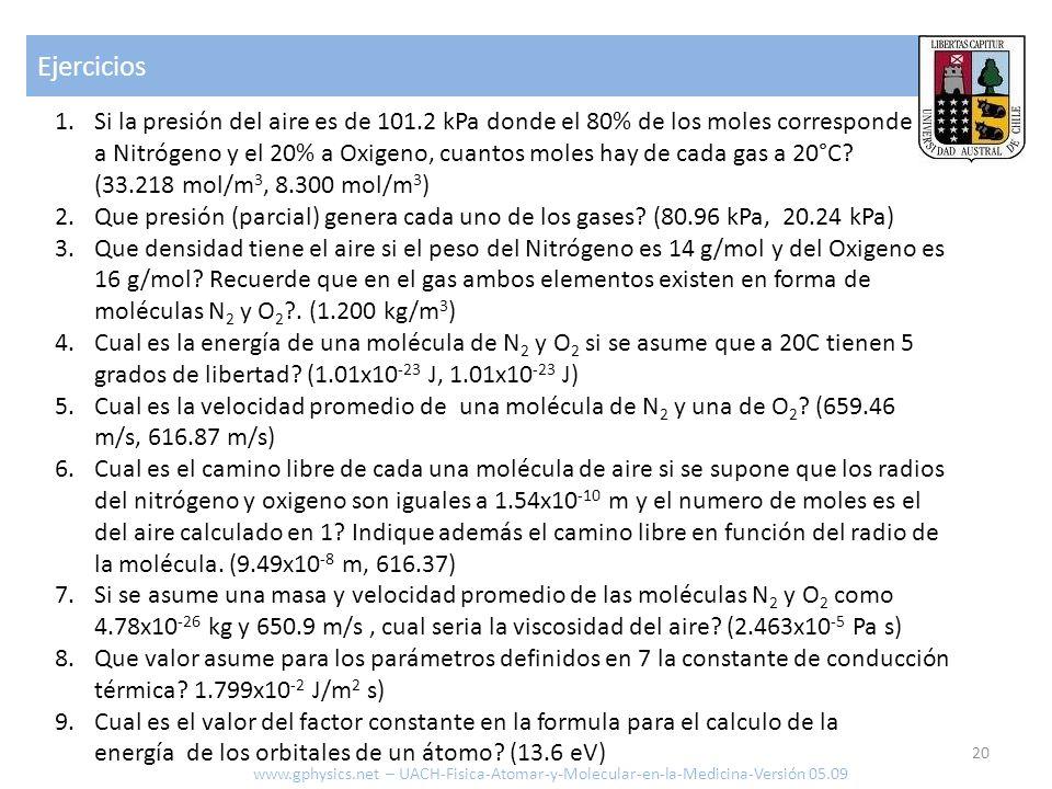 Ejercicios 20 www.gphysics.net – UACH-Fisica-Atomar-y-Molecular-en-la-Medicina-Versión 05.09 1.Si la presión del aire es de 101.2 kPa donde el 80% de