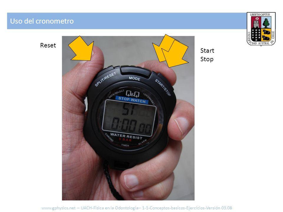 Uso del cronometro www.gphysics.net – UACH-Fisica en la Odontologia– 1-1-Conceptos-basicos-Ejercicios-Versión 03.08 Start Stop Reset