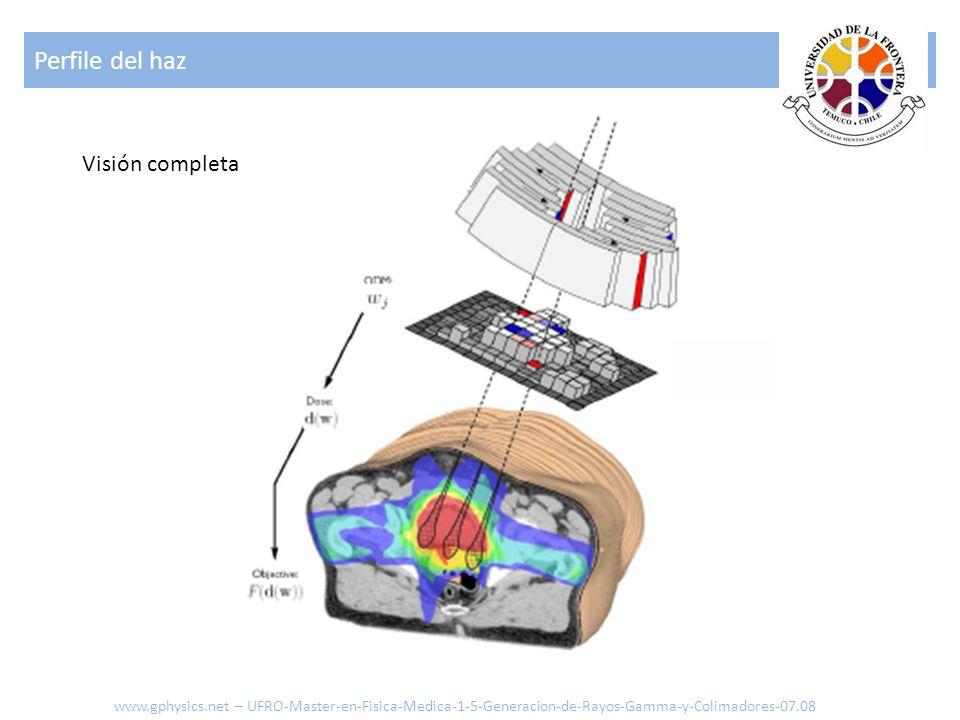 Perfile del haz www.gphysics.net – UFRO-Master-en-Fisica-Medica-1-5-Generacion-de-Rayos-Gamma-y-Colimadores-07.08 Visión completa