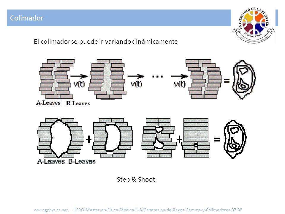 Step & Shoot Colimador www.gphysics.net – UFRO-Master-en-Fisica-Medica-1-5-Generacion-de-Rayos-Gamma-y-Colimadores-07.08 El colimador se puede ir vari