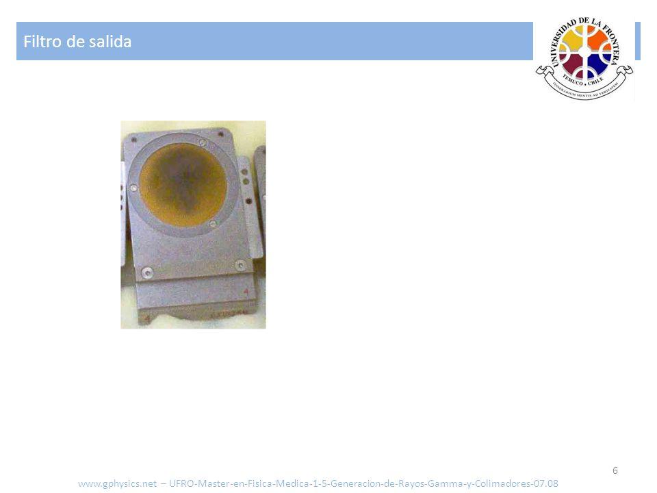 Filtro de salida 6 www.gphysics.net – UFRO-Master-en-Fisica-Medica-1-5-Generacion-de-Rayos-Gamma-y-Colimadores-07.08