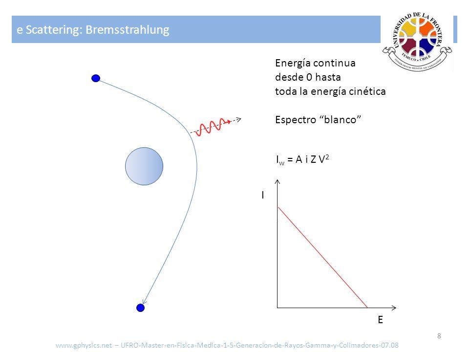 e Scattering: Bremsstrahlung 8 Energía continua desde 0 hasta toda la energía cinética Espectro blanco I w = A i Z V 2 E I www.gphysics.net – UFRO-Mas