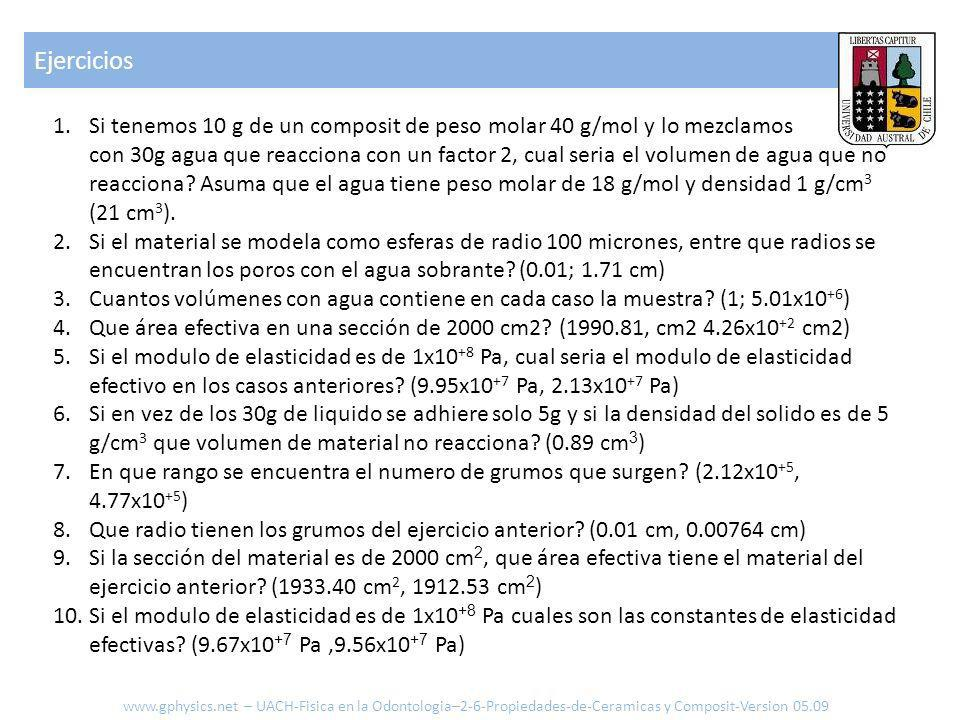 Ejercicios 1.Si tenemos 10 g de un composit de peso molar 40 g/mol y lo mezclamos con 30g agua que reacciona con un factor 2, cual seria el volumen de