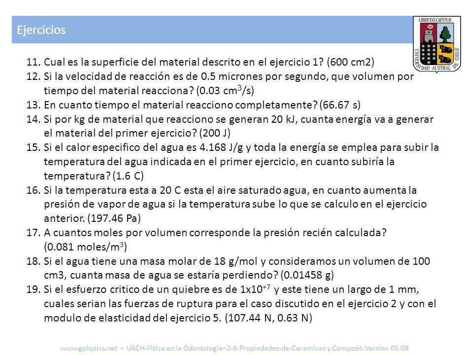 Ejercicios 11.Cual es la superficie del material descrito en el ejercicio 1? (600 cm2) 12.Si la velocidad de reacción es de 0.5 micrones por segundo,