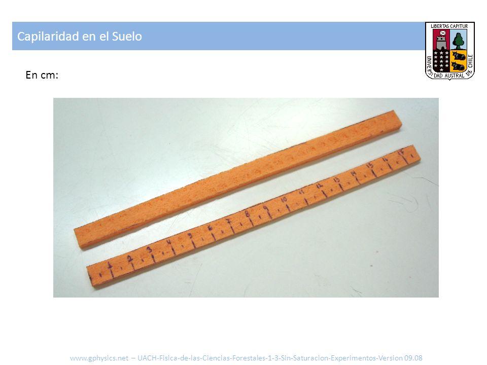 Capilaridad en el Suelo www.gphysics.net – UACH-Fisica-de-las-Ciencias-Forestales-1-3-Sin-Saturacion-Experimentos-Version 09.08 En cm: