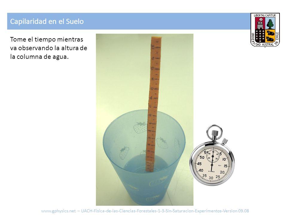 Capilaridad en el Suelo www.gphysics.net – UACH-Fisica-de-las-Ciencias-Forestales-1-3-Sin-Saturacion-Experimentos-Version 09.08 Tome el tiempo mientra