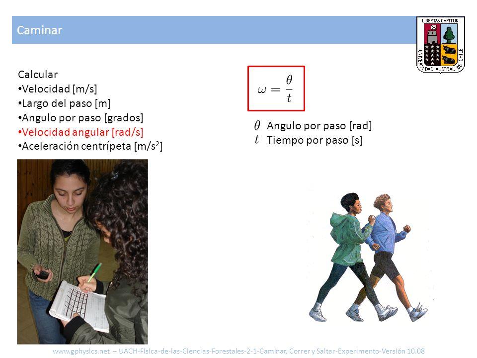Caminar Calcular Velocidad [m/s] Largo del paso [m] Angulo por paso [grados] Velocidad angular [rad/s] Aceleración centrípeta [m/s 2 ] Angulo por paso