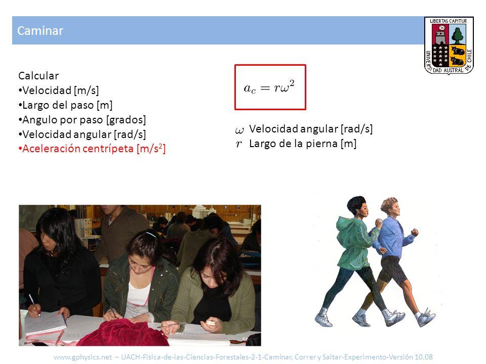 Caminar Calcular Velocidad [m/s] Largo del paso [m] Angulo por paso [grados] Velocidad angular [rad/s] Aceleración centrípeta [m/s 2 ] Velocidad angul