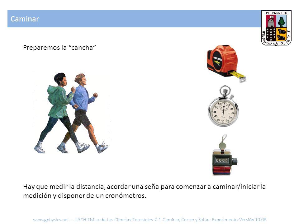 ParámetrosCaminarCorrer Distancia [m] Pasos [#] Tiempo [s] Largo de piernas [m] Velocidad media [m/s] Largo medio paso [m] Tiempo medio paso [s] Angulo [rad] Velocidad angular [rad/s] Aceleración centrifuga Resumen www.gphysics.net – UACH-Fisica-de-las-Ciencias-Forestales-2-1-Caminar, Correr y Saltar-Experimento-Versión 10.08