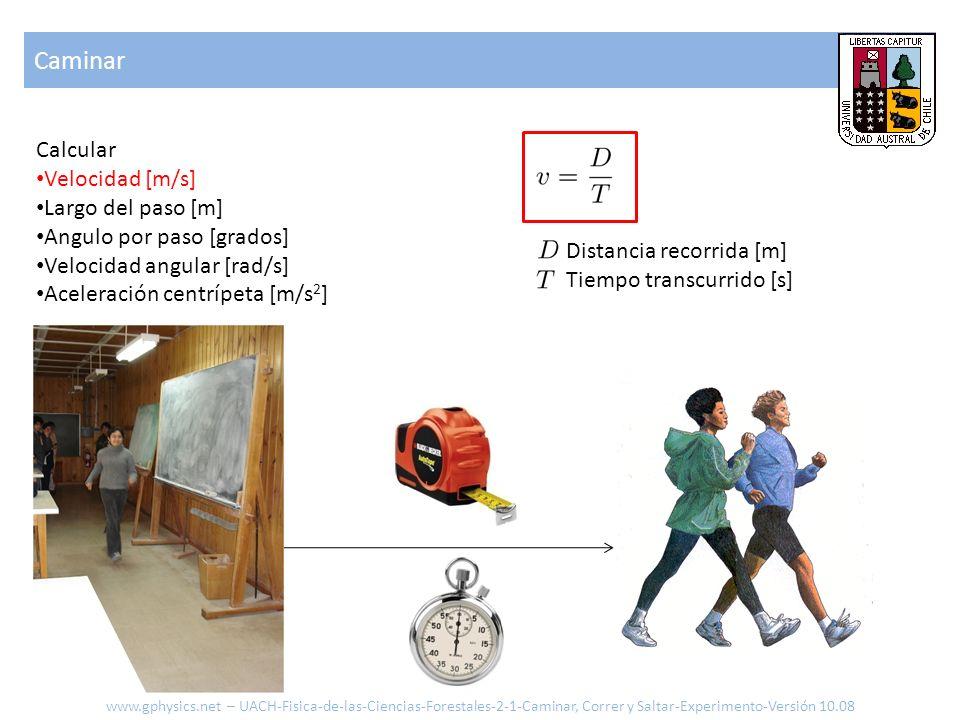 Caminar Calcular Velocidad [m/s] Largo y tiempo del paso [m] Angulo por paso [grados] Velocidad angular [rad/s] Aceleración centrípeta [m/s 2 ] Distancia recorrida [m] Tiempo recorrido [s] Tiempo por paso [s] Numero de pasos [-] www.gphysics.net – UACH-Fisica-de-las-Ciencias-Forestales-2-1-Caminar, Correr y Saltar-Experimento-Versión 10.08