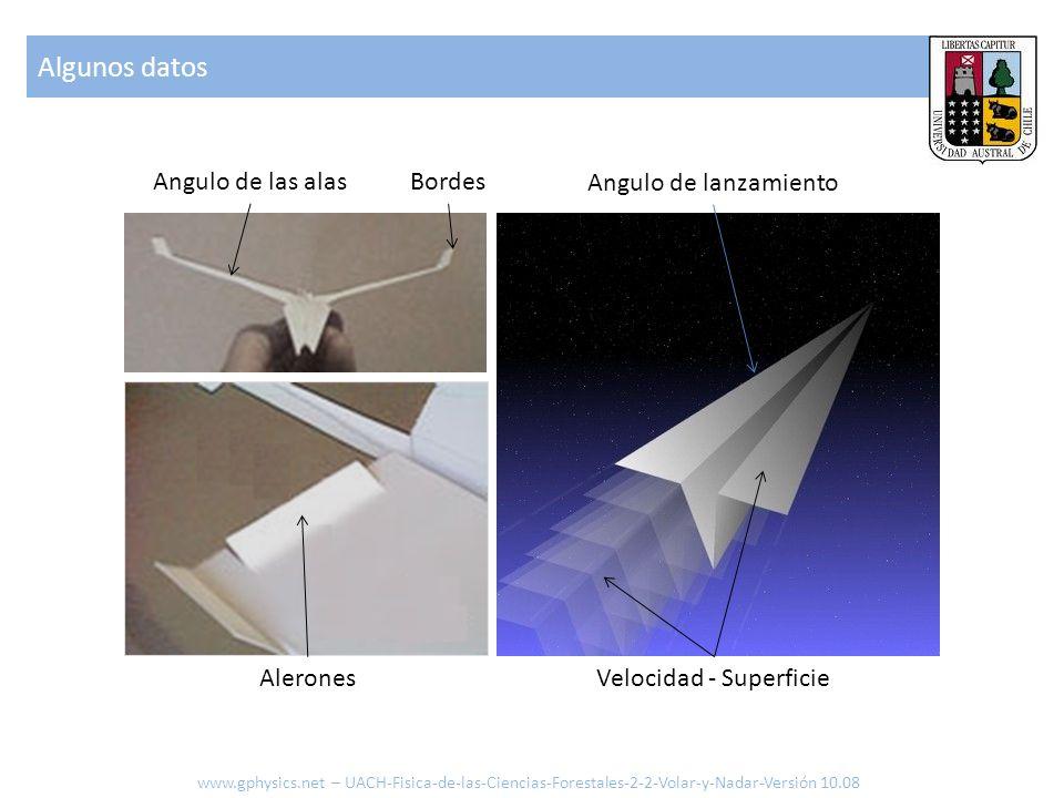 Algunos datos www.gphysics.net – UACH-Fisica-de-las-Ciencias-Forestales-2-2-Volar-y-Nadar-Versión 10.08 Angulo de las alasBordes AleronesVelocidad - S