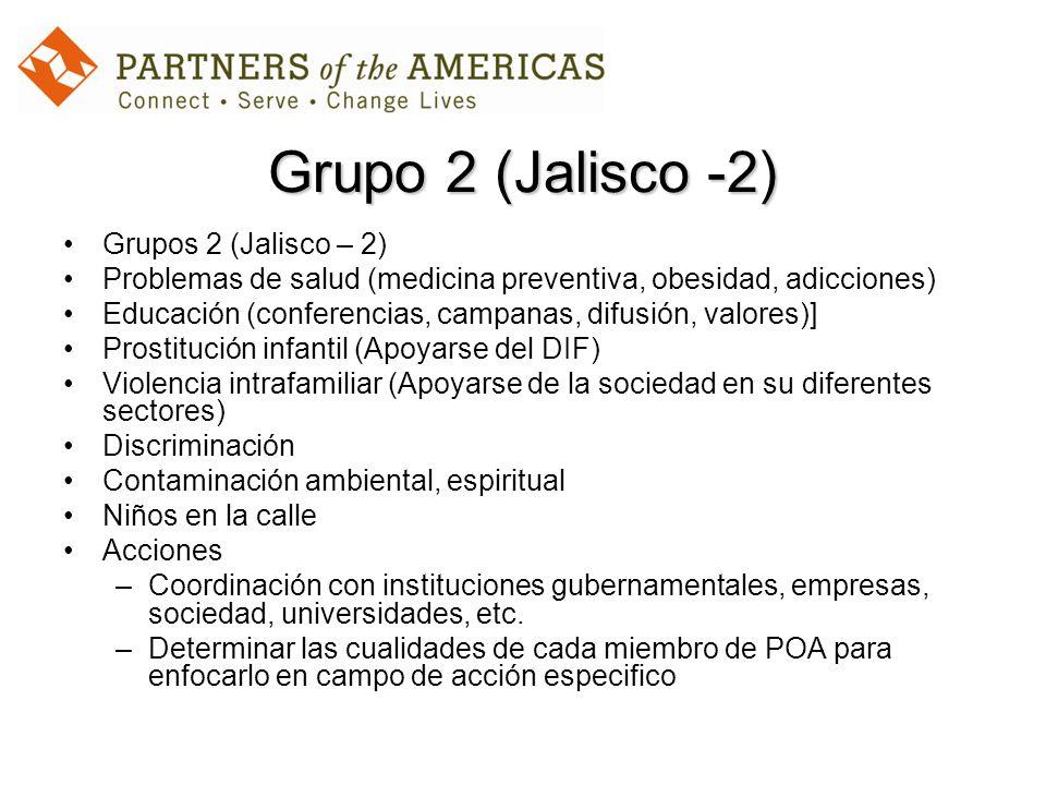 Grupo 2 (Jalisco -2) Grupos 2 (Jalisco – 2) Problemas de salud (medicina preventiva, obesidad, adicciones) Educación (conferencias, campanas, difusión