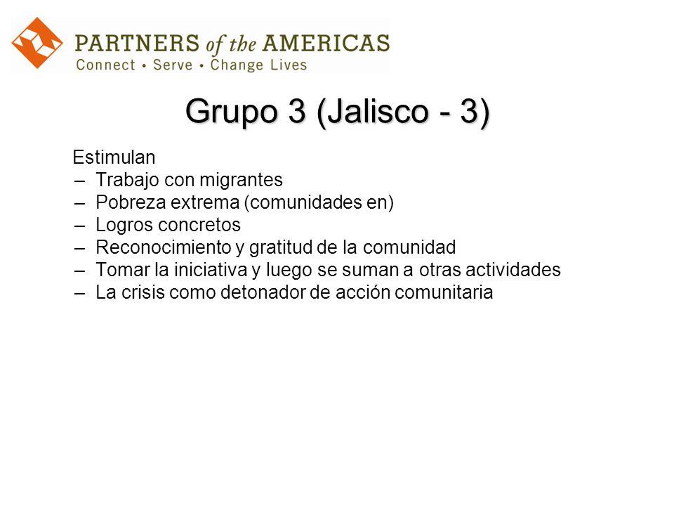 Grupo 3 (Jalisco - 3) Estimulan –Trabajo con migrantes –Pobreza extrema (comunidades en) –Logros concretos –Reconocimiento y gratitud de la comunidad –Tomar la iniciativa y luego se suman a otras actividades –La crisis como detonador de acción comunitaria