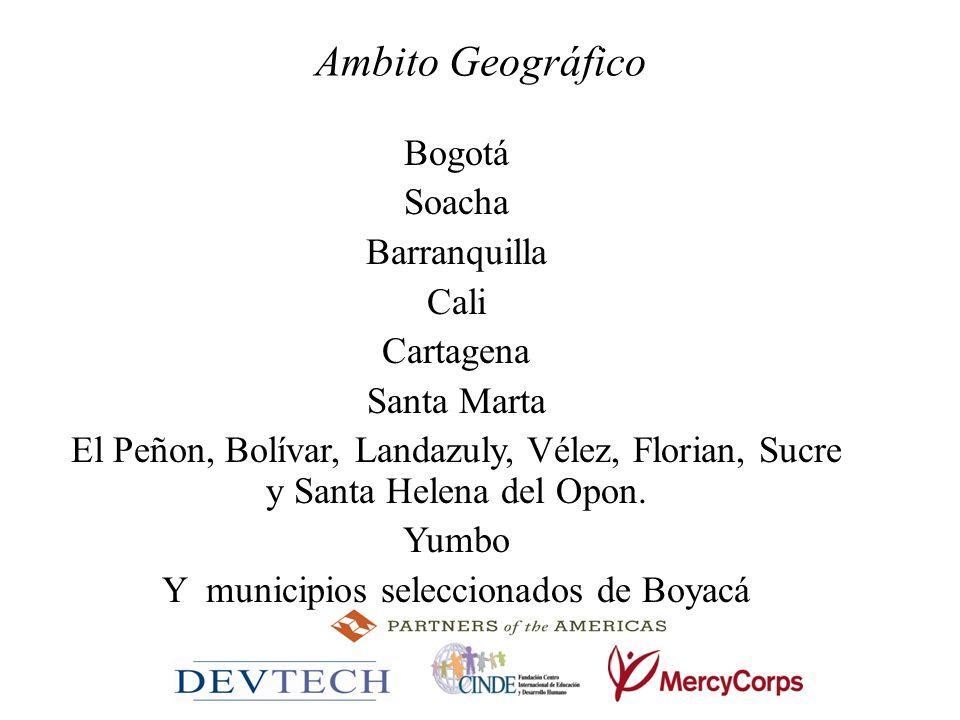 Ambito Geográfico Bogotá Soacha Barranquilla Cali Cartagena Santa Marta El Peñon, Bolívar, Landazuly, Vélez, Florian, Sucre y Santa Helena del Opon. Y