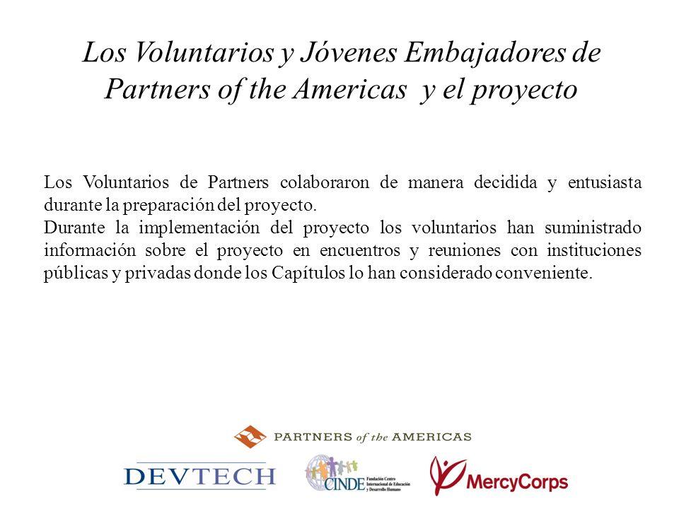 Los Voluntarios y Jóvenes Embajadores de Partners of the Americas y el proyecto Los Voluntarios de Partners colaboraron de manera decidida y entusiast