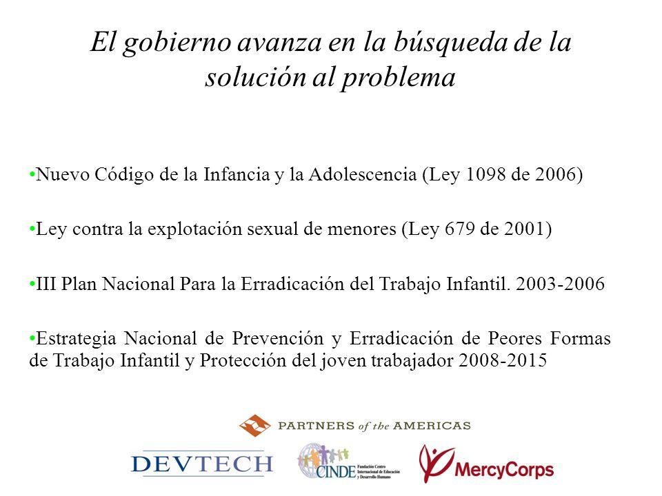 El gobierno avanza en la búsqueda de la solución al problema Nuevo Código de la Infancia y la Adolescencia (Ley 1098 de 2006) Ley contra la explotació