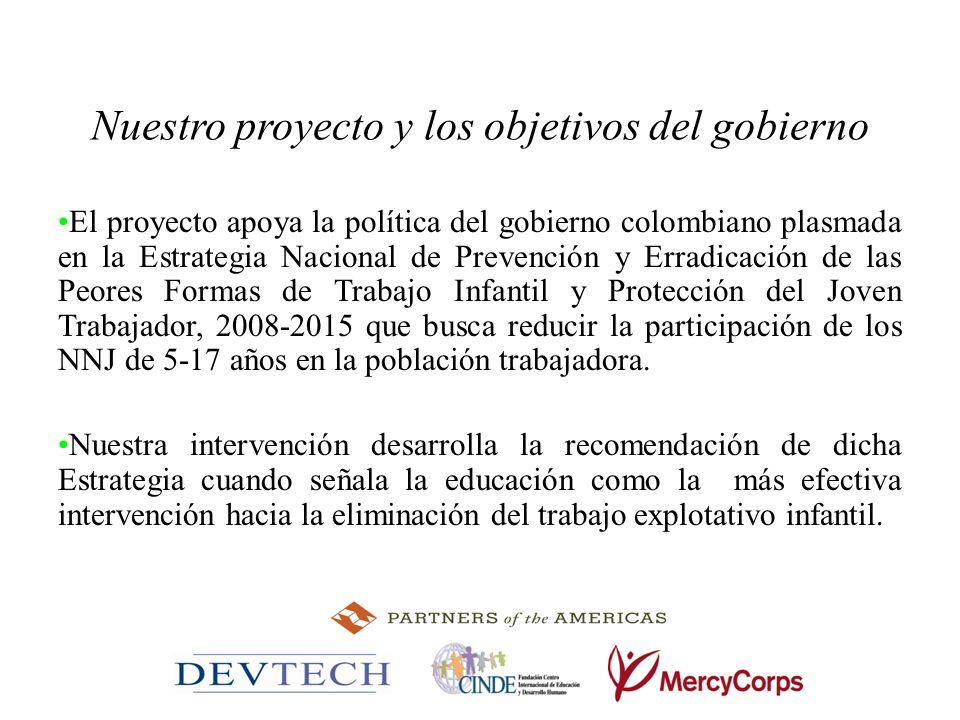 Nuestro proyecto y los objetivos del gobierno El proyecto apoya la política del gobierno colombiano plasmada en la Estrategia Nacional de Prevención y
