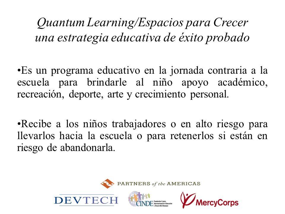 Quantum Learning/Espacios para Crecer una estrategia educativa de éxito probado Es un programa educativo en la jornada contraria a la escuela para bri