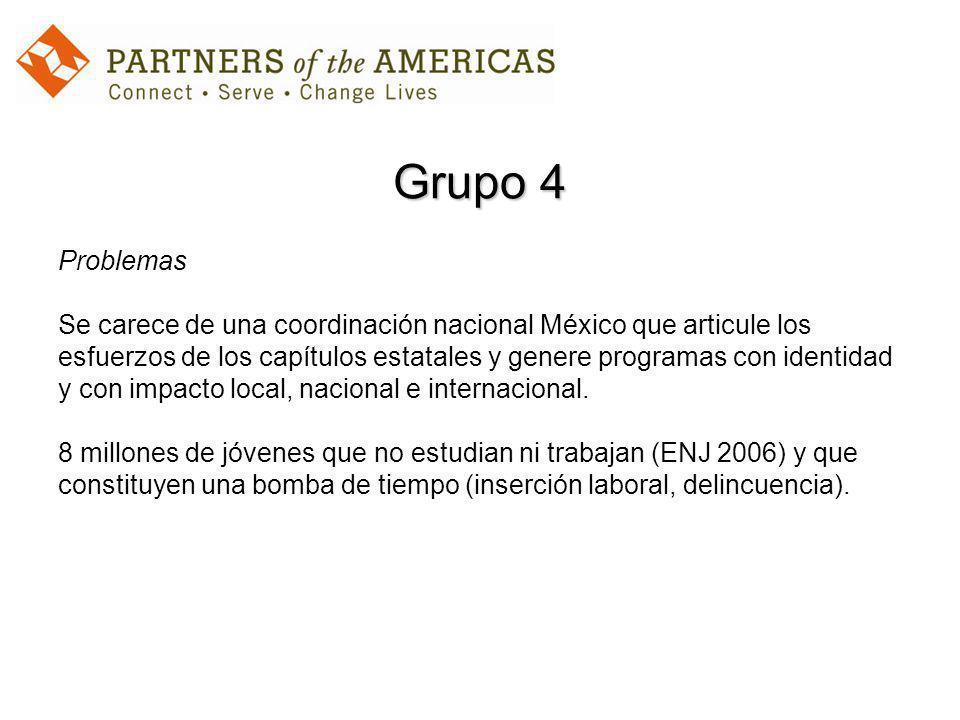 Grupo 4 Problemas Se carece de una coordinación nacional México que articule los esfuerzos de los capítulos estatales y genere programas con identidad y con impacto local, nacional e internacional.