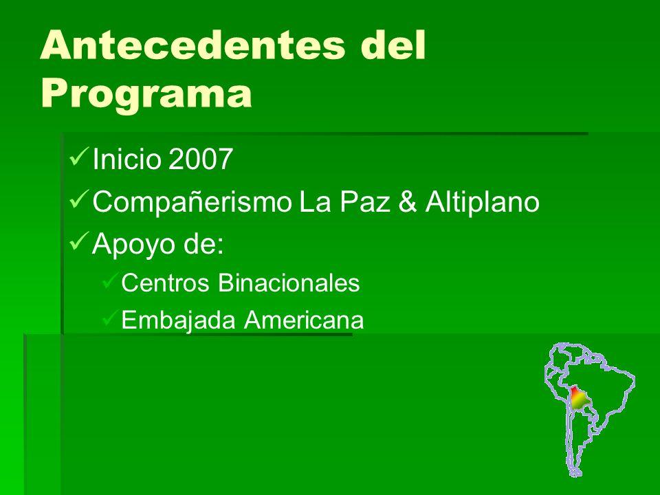 Antecedentes del Programa Inicio 2007 Compañerismo La Paz & Altiplano Apoyo de: Centros Binacionales Embajada Americana