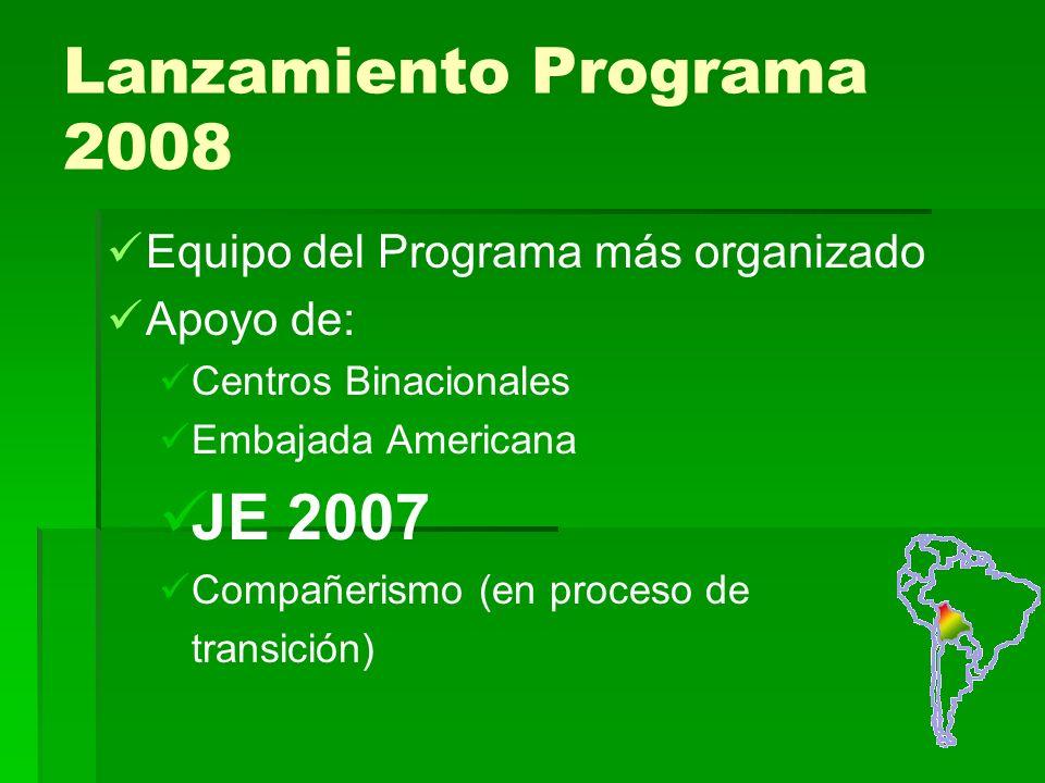 Lanzamiento Programa 2008 Equipo del Programa más organizado Apoyo de: Centros Binacionales Embajada Americana JE 2007 Compañerismo (en proceso de transición)