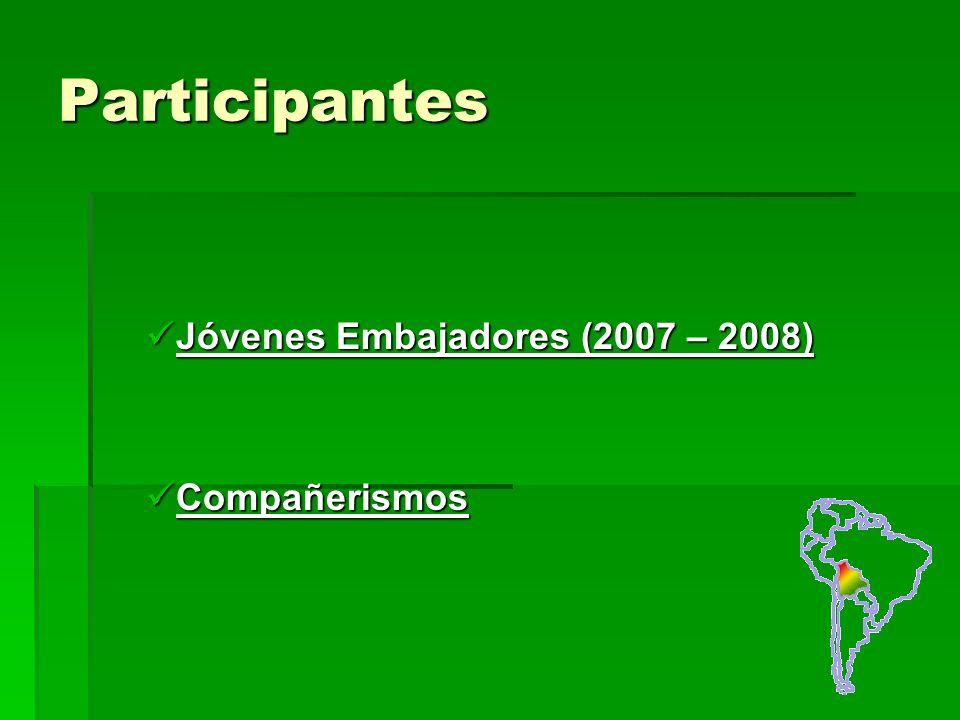 Participantes Jóvenes Embajadores (2007 – 2008) Jóvenes Embajadores (2007 – 2008) Compañerismos Compañerismos